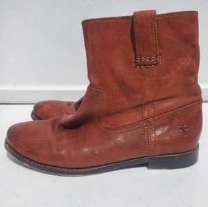FRYE Boot Anna Shortie Ankle Booties Brown Leather